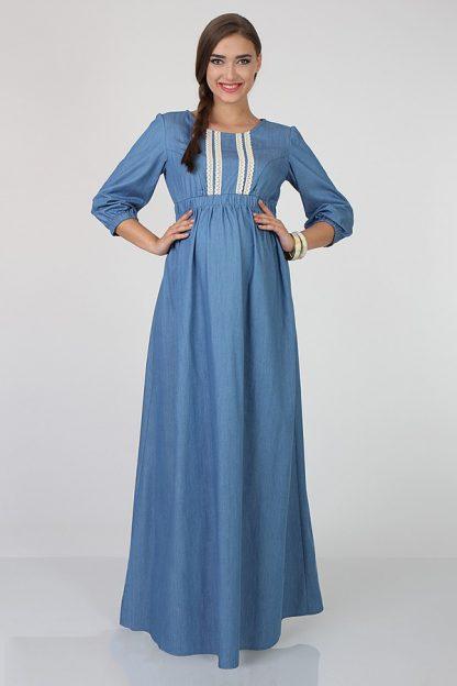 8151bc345cd3 платье для беременных длинное из летней джинсовой ткани Lola ...